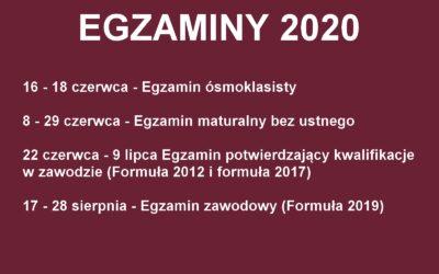 Terminy matur 2020